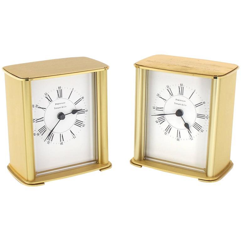 Pair Of Brass Vintage Desk Mantle Clocks Mid Century Modern Design For