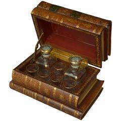 French Book Shaped Liquor Leather Box with Baccarat Glass