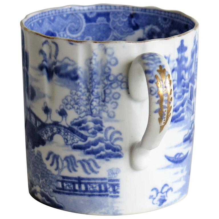Early Spode Porcelain Coffee Can Fluted Broseley Pattern, circa 1810