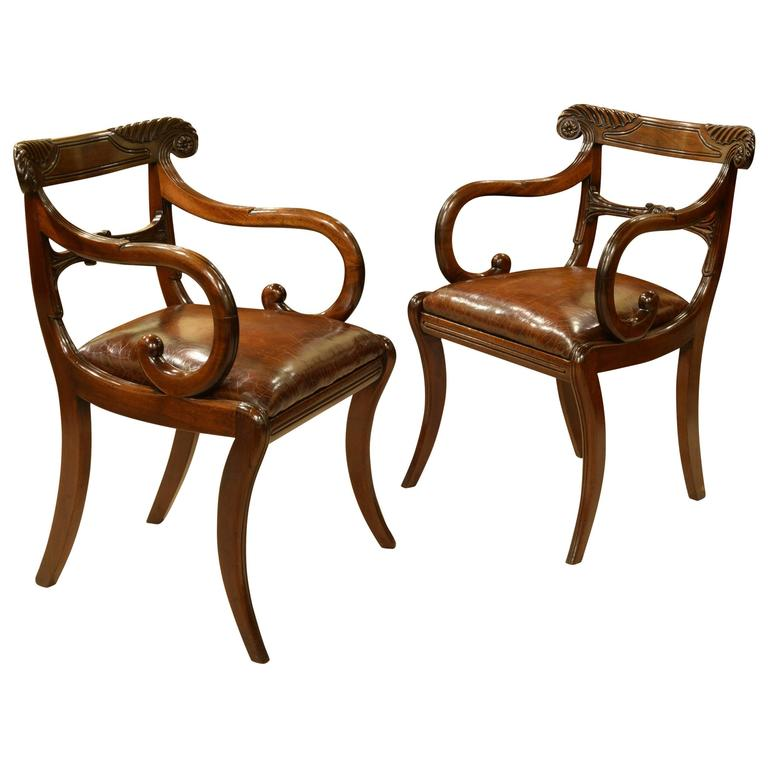 Pair of Regency Period Mahogany Carver Chairs For Sale