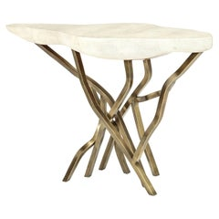 Shagreen Console with Decorative Designed Brass Base, Organic Design, in Stock