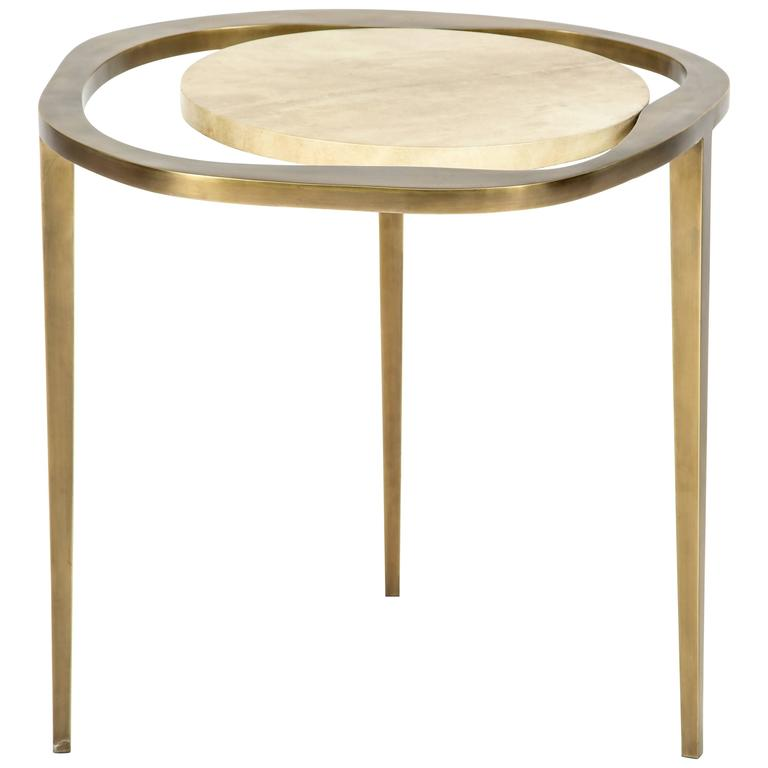 Parchment Side Table with Bronze Base 1