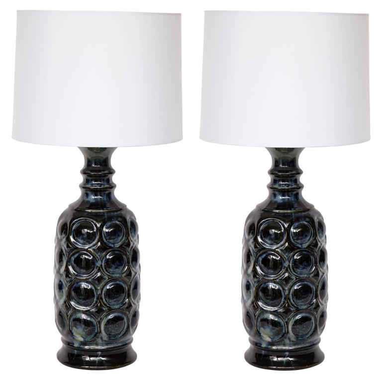 West German Midnight Blue Ceramic TOTEM Lamps For Sale