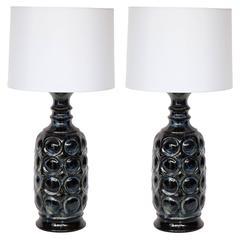 West German Midnight Blue Ceramic TOTEM Lamps