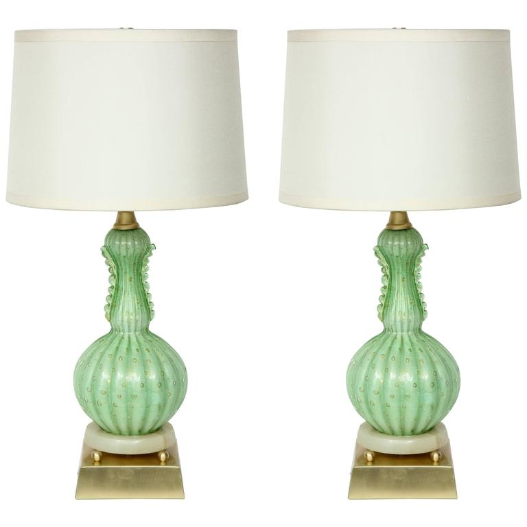 Barovier Pale Green Murano Glass Lamps For Sale