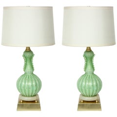 Barovier Pale Green Murano Glass Lamps