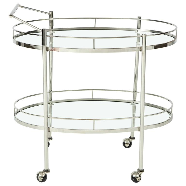 Art Deco Polished Nickel Bar Cart 1