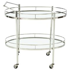 Art Deco Polished Nickel Bar Cart