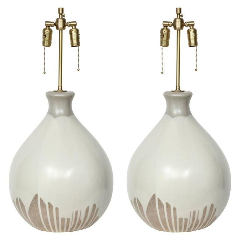 Italian Tan and Bone Drip Glaze Ceramic Lamps 1