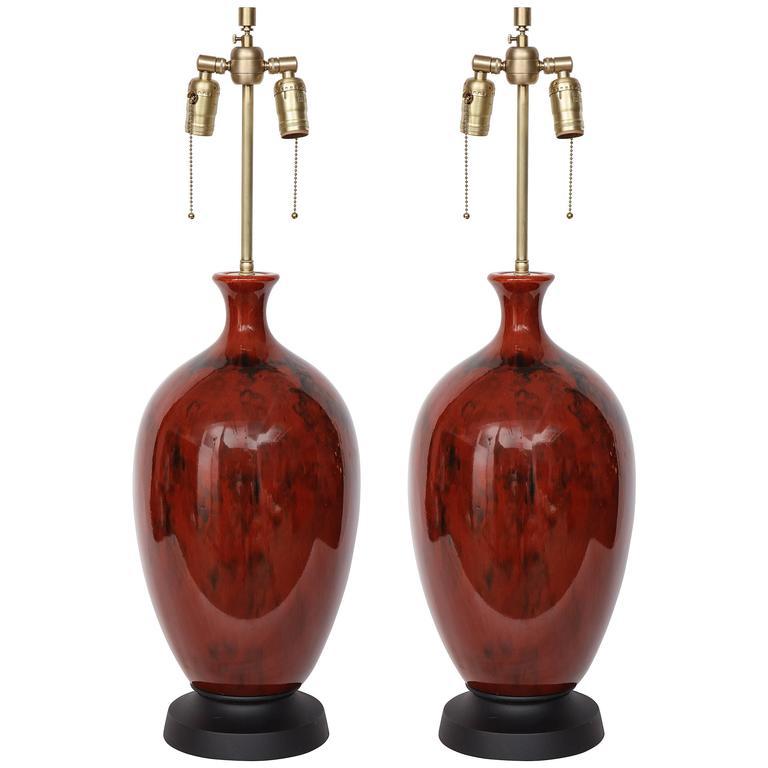 Italian Mid-Century Bloodstone Glazed Lamps For Sale
