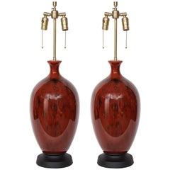 Italian Mid-Century Bloodstone Glazed Lamps