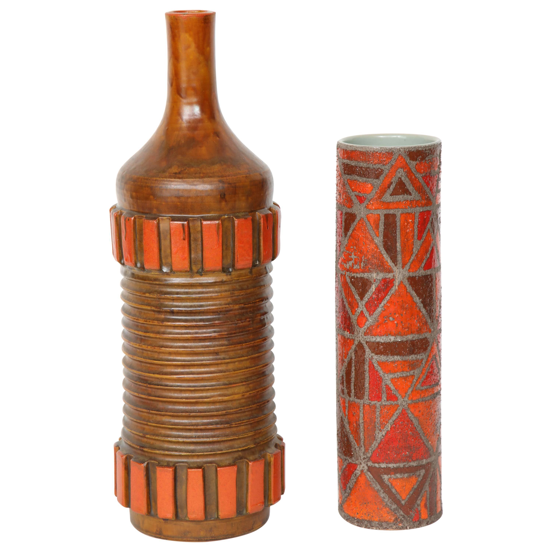 Alvino Bagni Orange, Brown Ceramic Vase