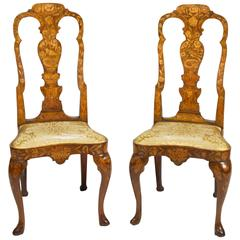 Pair of 18th Century Dutch Marquetry Inlaid Side Chairs