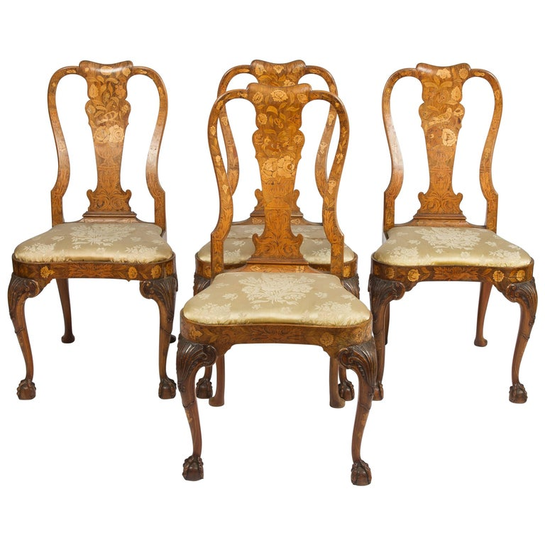 Fine Set of Four 18th Century Dutch Marquetry Side Chairs For Sale
