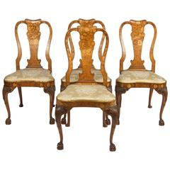 Fine Set of Four 18th Century Dutch Marquetry Side Chairs