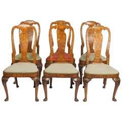 Set of Six 18th Century Dutch Marquetry Chairs