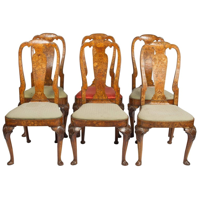 Set of Six 18th Century Dutch Marquetry Chairs For Sale