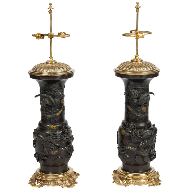 Large Pair of Japanese 19th Century Bronze Vases / Lamps For Sale