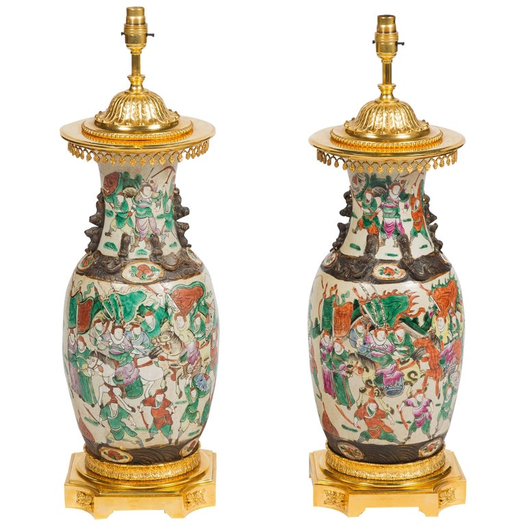 Pair of 19th Century Chinese Crackleware Vases or Lamps For Sale