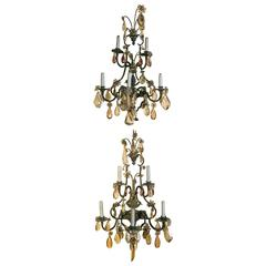 Important Pair Iron Wall Sconces Five Arms White and Color Crystal Drops