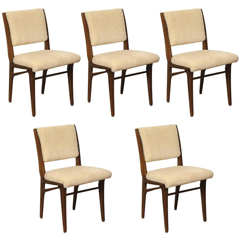 Set of Shearling Dining Chairs 1