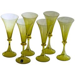 Cenedese Set of Six Flutes, Green Fumé with Gold Leaf Neck