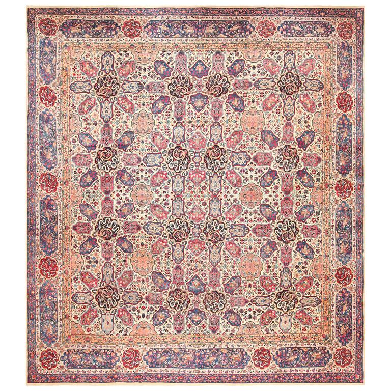 Fine Fl Antique Persian Kerman Rug
