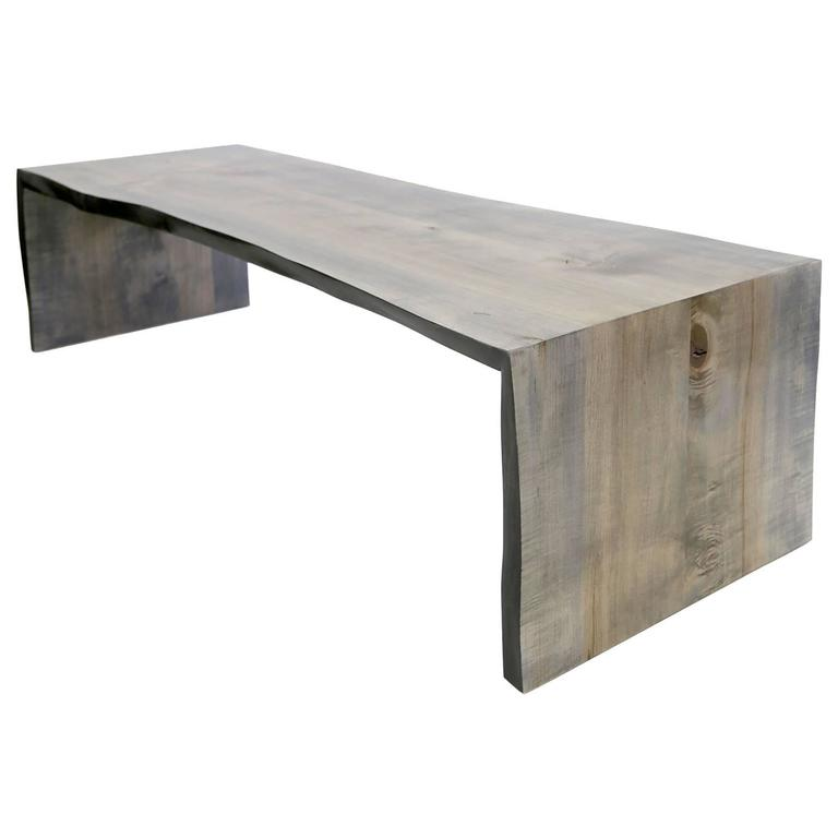 Sentient Folded Maple Slab Live Edge Coffee Table With Driftwood Finish For