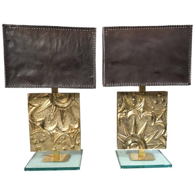 Pair of Italian Bronze Table Lamps