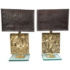Pair of Italian Bronze Table Lamps