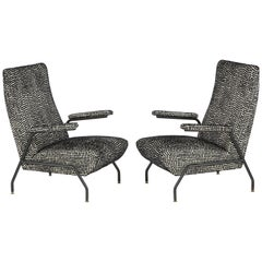 Pair of Mid-Century Lounge Chairs with Black Enameled Steel Frame, Italy, 1960s