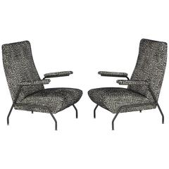 Rare Pair of Mid-Century Italian Lounge Chairs with Steel Enameled Frame, 1960s