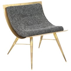 One of a Kind Sculptural Solid Brass and Grey Tweed Fabric Accent Chair, Italy