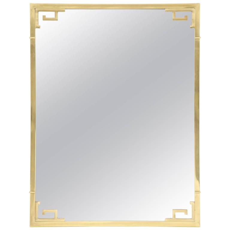 Large Italian Mid-Century Modern Greek Key Brass Wall Mirror For Sale
