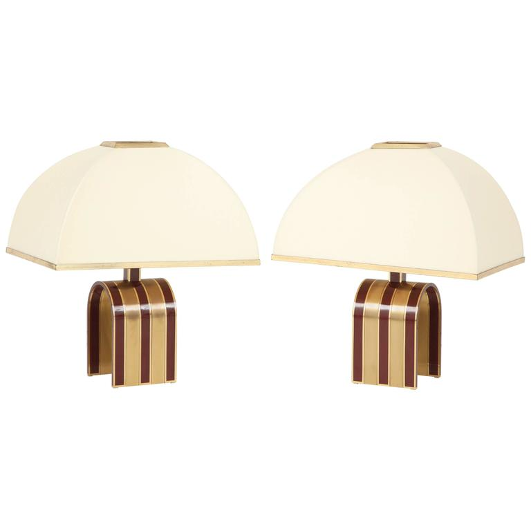 Mid-Century Modern Pair of Italian Red and Brass Lamps Attributed to Romeo Rega 1