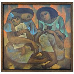 Philippines Artist Roger San Miguel Painting, Women and Child