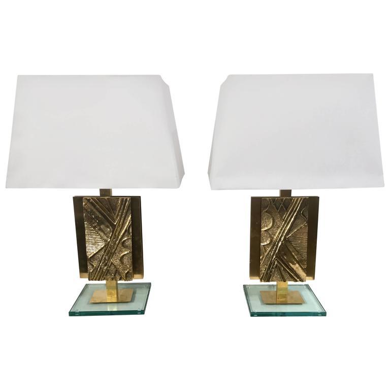 Pair of Italian Table Lamps in Bronze