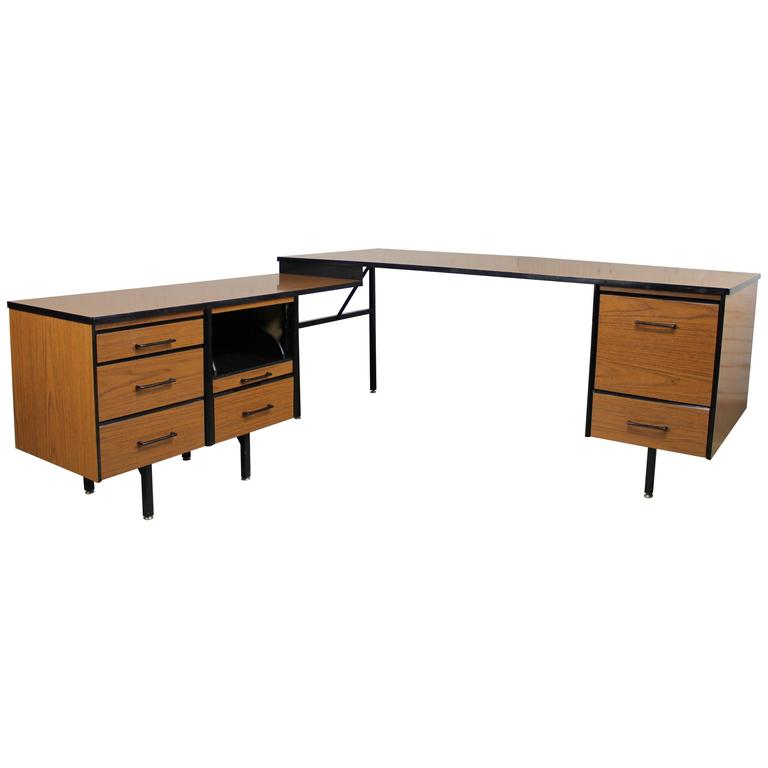 Mid Century Modern Imperial Desk Company Walnut Laminate And Black Metal For