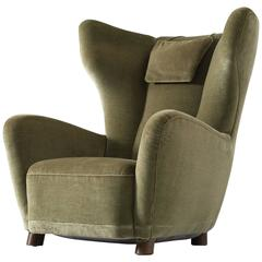 Danish Lounge Chair in Green Velvet