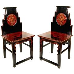 19th Century Pair of Chinese Stepped-Back Chairs