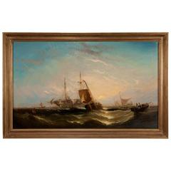 Victorian Sea Painting with Ships