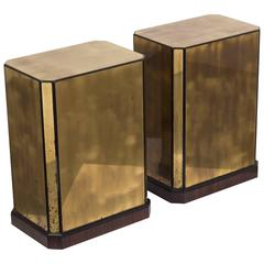 Pair of Brass Veneered Drexel Designed Table Bases/Pedestals, 1970s