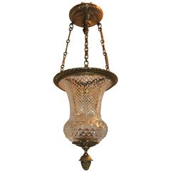 Wonderful French Neoclassical Dore Bronze Cut Crystal Lantern Fixture Pendent