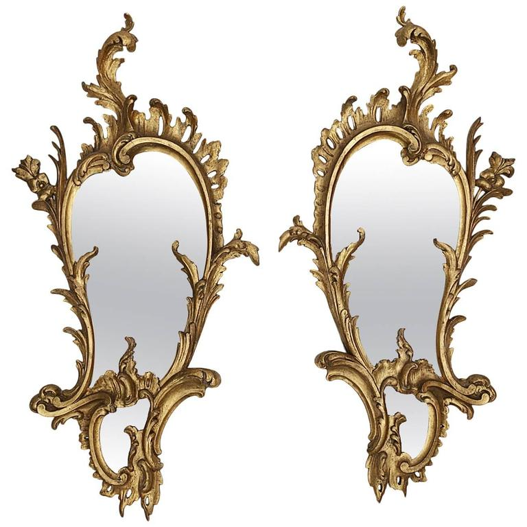 Early 19th Century George III Irish Pair of Giltwood Mirrors of Asymmetrical For