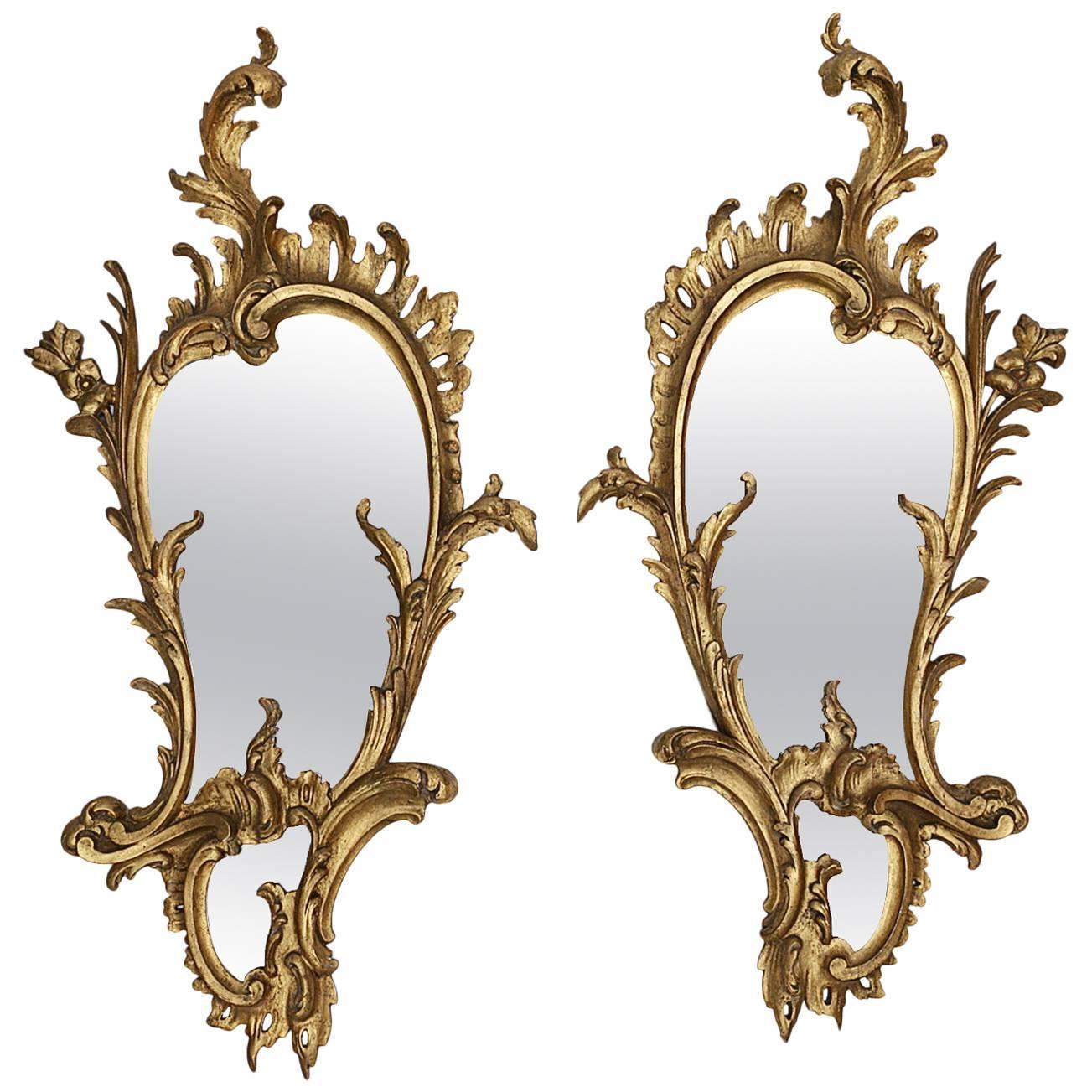 Early 19th Century George III Irish Pair of Giltwood Mirrors