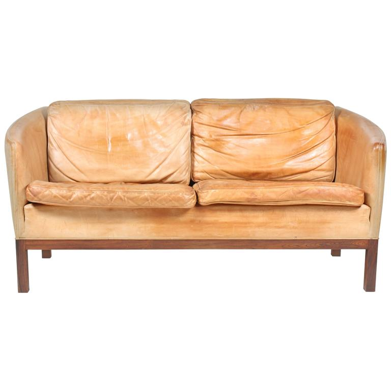 Sofa in Patinated Leather by Illum Wikkelsø
