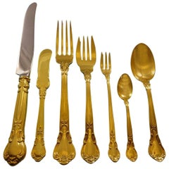 Chantilly Vermeil by Gorham Sterling Silver Flatware Set Service 46 Pcs Dn Gold