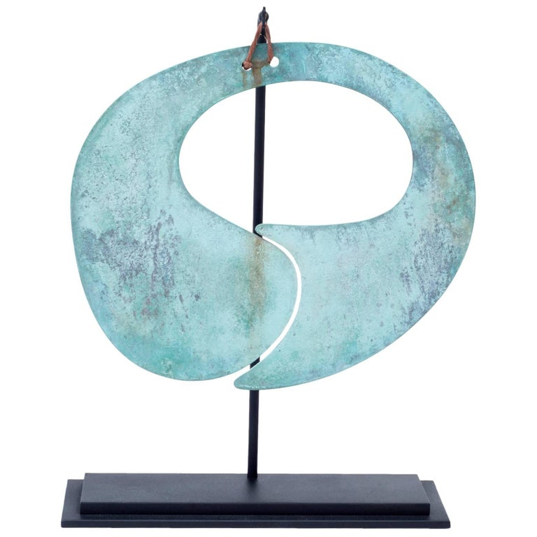 Harry Bertoia Patinated Bronze Gong For Sale