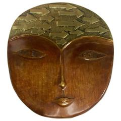 Patinated Solid Bronze Face Mask by A. M. Fage Signed and Dated