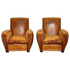 1950s Pair of Vintage French Leather Club Chairs